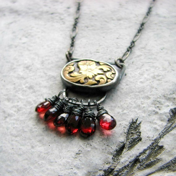 sterling silver necklace gemstone metalwork wire wrapped garnet and vintage brass mixed metal bohemian romantic - Femme Fatale