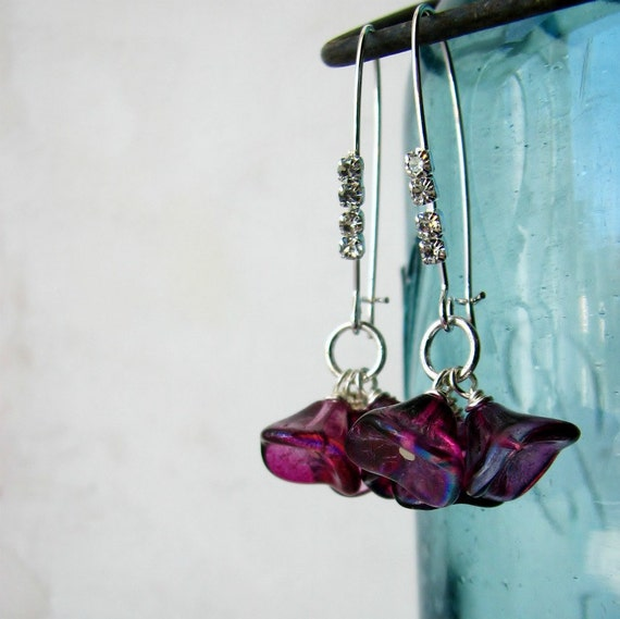 SALE Glass flower earrings elongated summer fashion bead dangle sparkling rhinestones - Flirt in plum pink