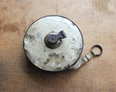 Weathered and Worn -  Vintage Tape Measure - Vintage Lufkin 75 ft Retractable Cloth Tape Measure