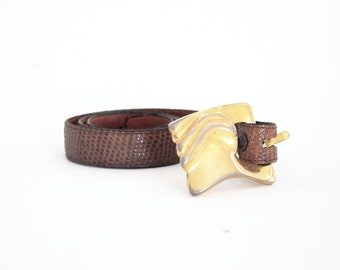 Ilana Gore Avant Garde Genuine Lizard & Cowhide Leather Belt. Small.