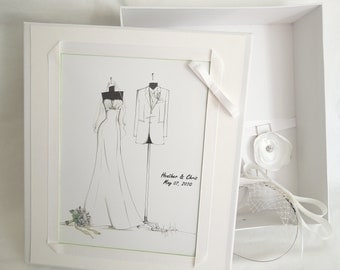 Custom Bride/Groom Sketch Wedding Memory Box