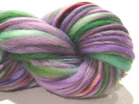 Bulky Handspun Yarn Veronica 62 yds, thick and thin, hand dyed merino wool, green purple violet knitting supplies crochet supplies
