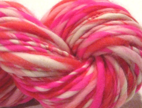 Bulky Handspun Yarn Love Conquers All 54 yds, thick and thin, hand dyed merino wool, pink red white knitting supplies crochet supplies
