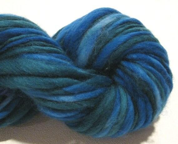 handspun yarn Atlantic thick and thin bulky singles merino yarn, 60 yards, Waldorf doll hair, hand dyed blue teal merino wool top