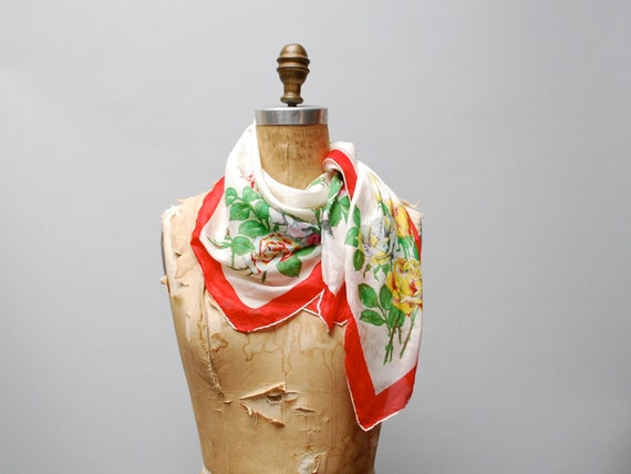 vintage 1940s silk scarf. floral rose print with red border
