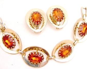 Vintage Wide Golden Topaz Rhinestone Link Bracelet Set