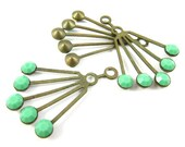 2 - RARE Vintage Art Deco Style Brass Dangle Finding with Opaque Apple Green Swarovski Crystals - 30x21mm