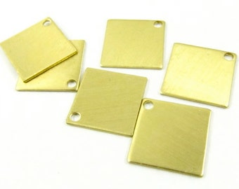 8 - Raw Brass Square Charm Stampings
