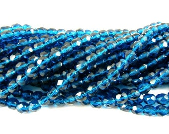 30 - Round Czech Fire Polished Faceted Glass Beads - Capri Blue - 6mm