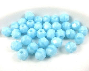30 - Round Czech Fire Polished Faceted Glass Beads - Moonstone Aqua - 6mm