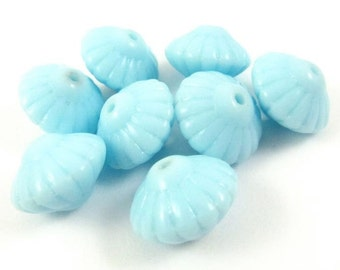 8 - Vintage Glass Saucer Beads - Baby Blue .