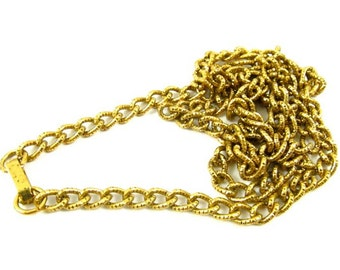 1 pc Vintage Knurled Brass Curb Chain with Foldover Clasps - CN7