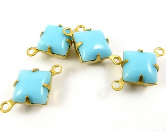 6 - Vintage Glass Square Stones in 2 Rings Closed Back Brass Prong Settings Opaque Turquoise Blue - 8x8mm