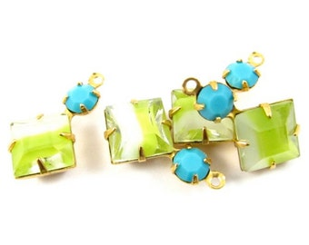2 - Vintage Square Glass Dangles 1 Ring Set Stones Brass Prong Settings Yellow White & Turquoise 18x11mm