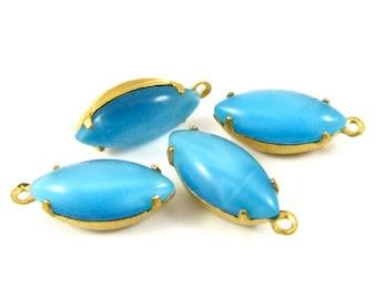 4 - Vintage Moonshine Navette Stones in 1 Ring Closed Back Brass Prong Settings - Moonshine Sky Blue - 15x7mm