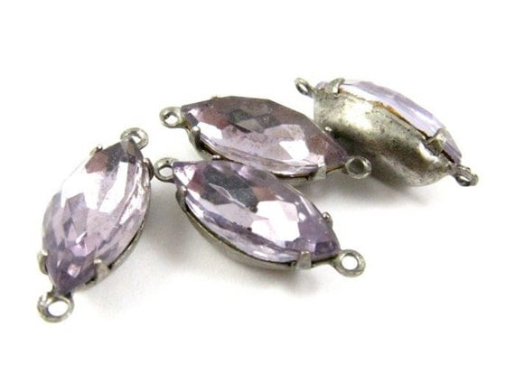 4 - Vintage Faceted Navette Stones in 2 Rings Silver Antique Brass Prong Settings - Light Amethyst - 15x7mm