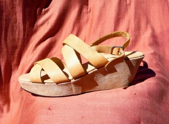 Blonde Leather Platform Sandals Dolci's 7.5 8