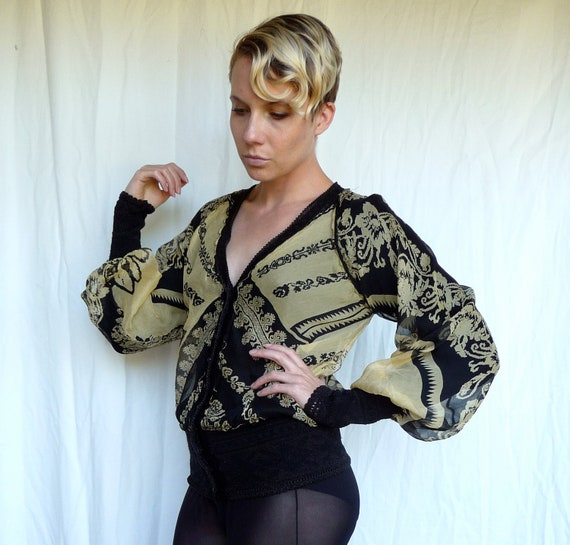 Gaultier Maille Sheer Silk Chiffon Layered over Knit Cardigan