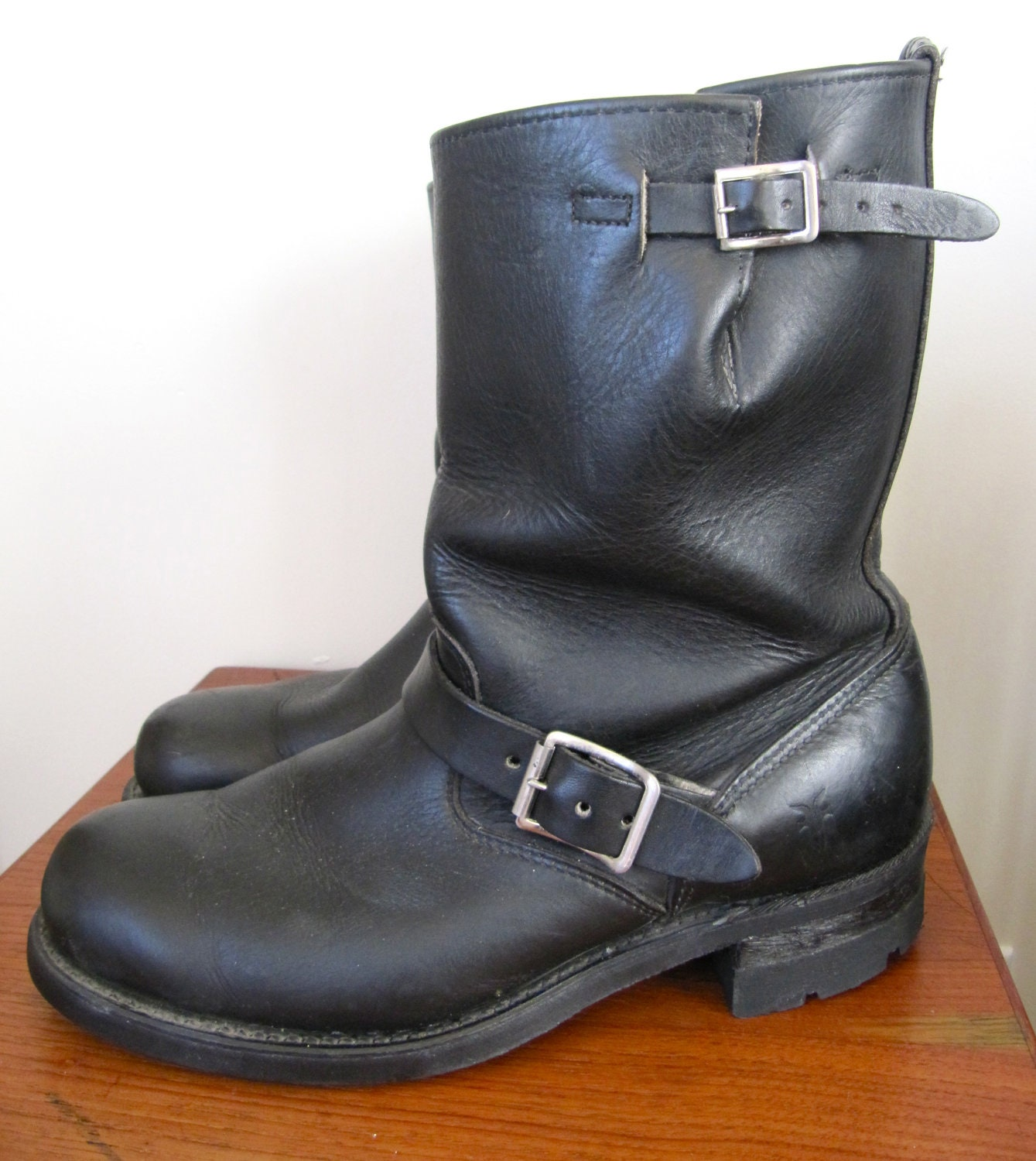 frye black leather motorcycle boots s 9 by triplegemini