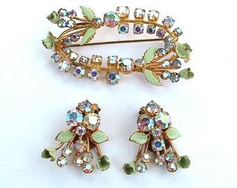 Antique Enamel Rhinestone Demi Parure Mint Green Roses Brooch Clip On Earrings Set