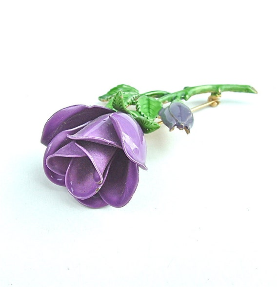 Vintage Enamel Flower Brooch - Nature Inspired Jewelry - Purple Roses