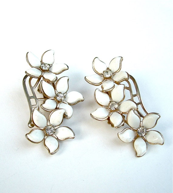 Vintage Flower Earrings - Celluloid Jewelry - Wedding White with Rhinestones
