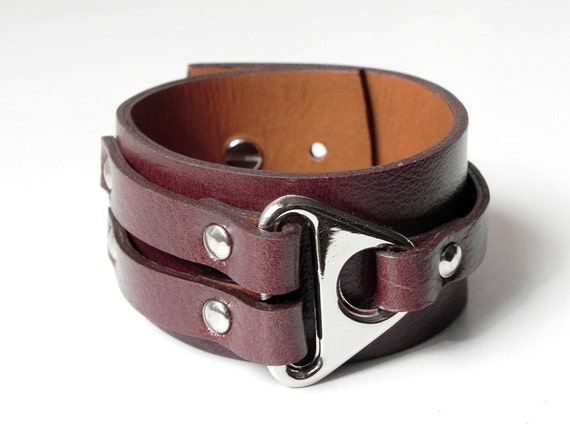 Brown Leather Cuff Leather Bracelet with with Metal Triangle Silver Tone