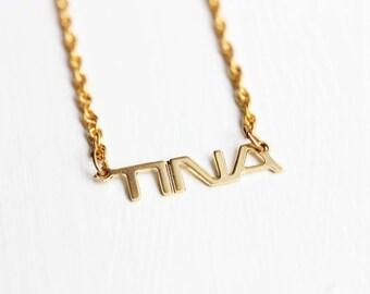 Tina Name Necklace, Tina Necklace, Name Necklace, Vintage Name Necklace, Name Plate Necklace, Gold Name Necklace, Gold Necklace, Name Chain