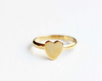 Heart Ring Gold, Gold Heart Ring, Adjustable Heart Ring, Heart Ring, Small Heart Ring, Heart Midi Ring, Midi Ring, Vintage Heart Ring