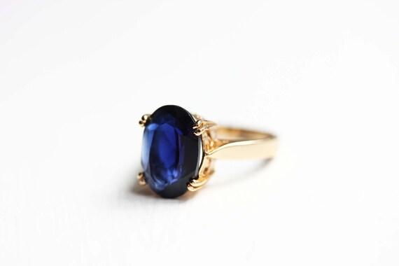18K Vermeil Blue Oval Ring