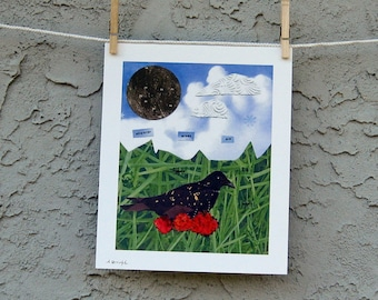Wherever Crows Are There Is Magic Collage Giclee Print 8 x 10
