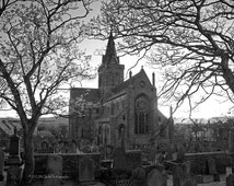 Photography black and white Cathedral St Magnus Scotland Orkney Graveyard Ancient Creepy Halloween Ghostly