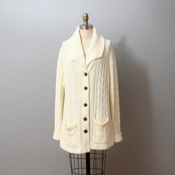 1970s Cardigan Sweater - Slouchy Ivory Cable Knit Sweater