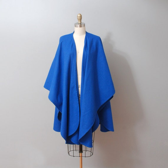 1980s Poncho - Indigo Wool Wrap Cape