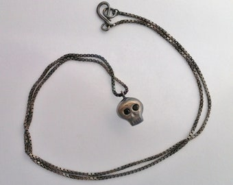 Black Spinel Silver Skull Necklace