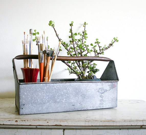 Vintage Metal Tool Caddy - Galvanized Steel with Copper Handle