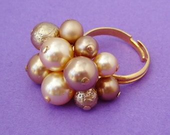 Gold Pearl Beaded Ring