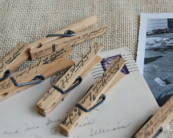 20 -French Script  Clothespins Hand Stamped