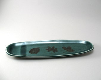Olive Tray-Oval Tray-Tableware-Appetizer Tray-Leaves-Stoneware Platter-Leaf Pattern-Peacock Gloss Glaze