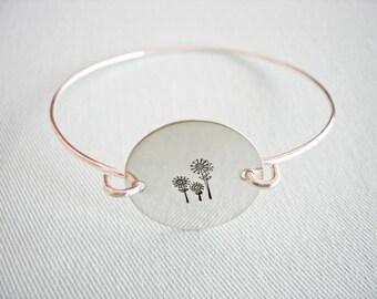 Handstamped Bangle Bracelet Sterling Silver