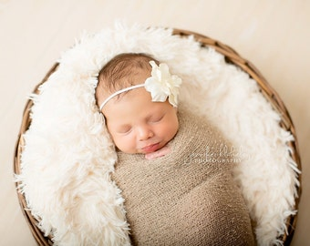 Simple Flower Headband in OFF WHITE - newborn photo prop