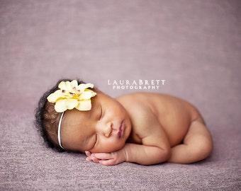 Simple Flower Headband in YELLOW - newborn photo prop