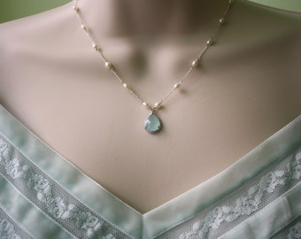 White Pearls and Blue Ice Mint Pendant Beautiful Necklace Bridal Jewelry, Gifts for Mom, Wedding Jewelry, Gifts