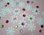 "Paper Embellishments for crafting 50pcs.(5969) 1"" Hand Punched Flowers with multi colored rhinestones"
