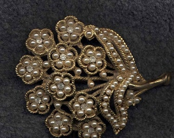 HAR STYLE Brooch, Goldtone Bouquet with Faux Pearl and Rhinestone