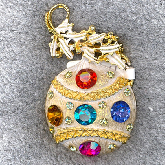 Unmarked Christmas Ornament with Holly Brooch