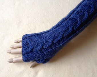 Fingerless Gloves Arm Wrist Warmers, Denim (blue), Luxury Hand Knitted Soft Merino Wool Extra Long Mittens 17 Colours