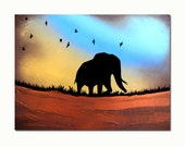 Elephant Travelling with Birds - 10 x 8, Modern Contemporary Abstract Art FINE ART PRINT