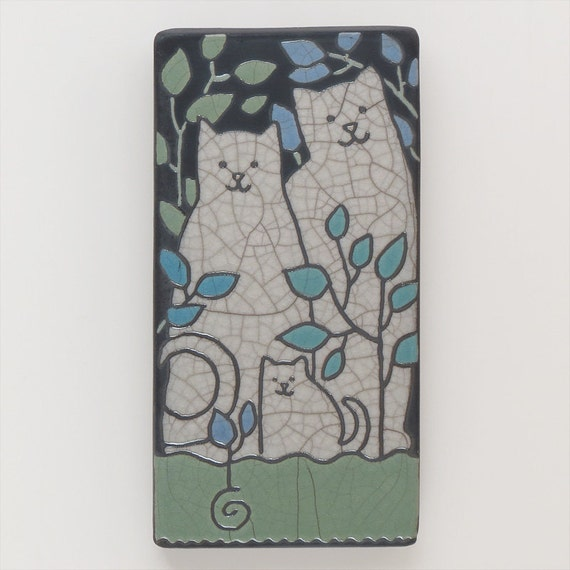 Cat family,4x8 raku fired art tile,handmade ceramic tile, home decor