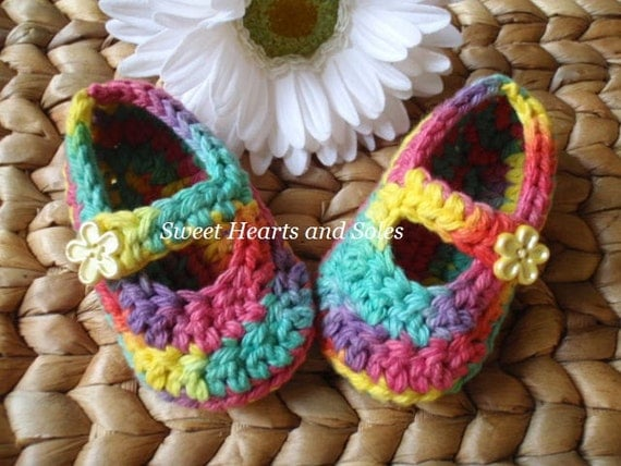 Rainbow Bright Patchwork Baby Mary Janes 0-3 Months